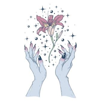 Magia con un fiore illustrazione di arte vettoriale fatta a mano