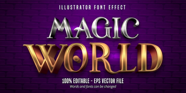 Magic world testo, effetto carattere modificabile stile metallico oro e argento