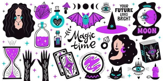 Icone magiche dell'illustrazione della strega di scarabocchio messe. magia e stregoneria, elementi di alchimia esoterica strega.