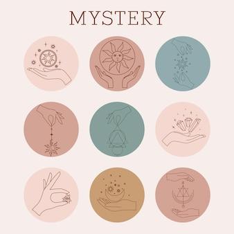 Set di mani magiche del modello di logo vettoriale design minimale in stile lineare