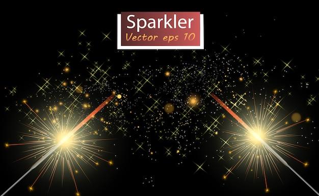 Luce magica. sparkler. candela scintillante sullo sfondo. effetto luce vettoriale realistico. inverno, illustrazione stagionale della decorazione di natale.