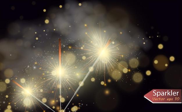 Luce magica sparkler candela scintillante sullo sfondo effetto luce vettoriale realistico inverno