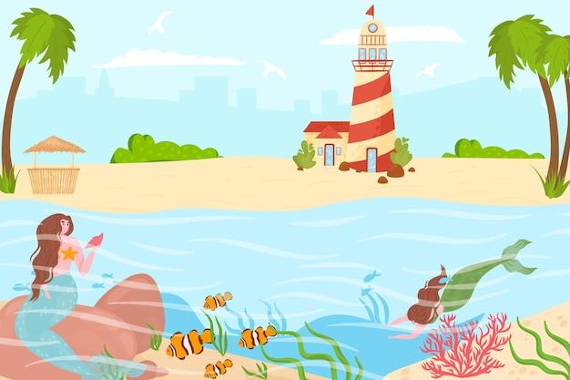 Magica creatura marina sirena nuota vicino alla spiaggia di campagna tropicale e al faro oceanico personaggio ninfa r...
