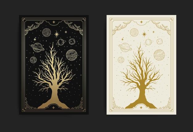 Albero sacro magico e mistico con cielo notturno, decorato con stelle e pianeti