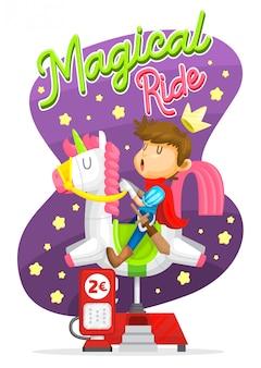 Macchina per equitazione magical ride, unicorn e prince Vettore Premium