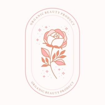 Elemento di logo di bellezza floreale rosa magica con stelle e cornice
