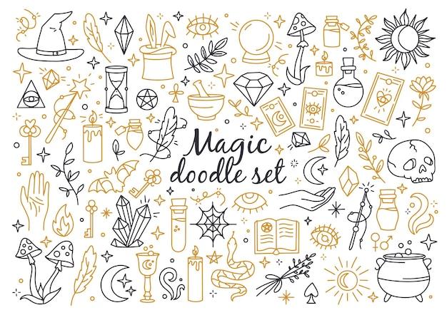 Un insieme magico di icone in stile scarabocchio stregoneria lineare e simboli mistici