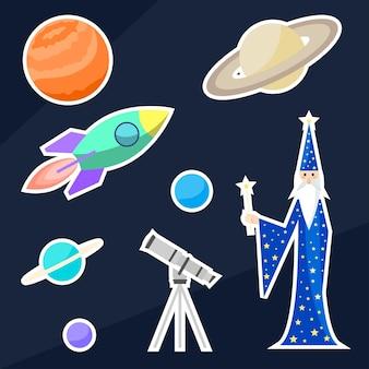 Astrologo mago e oggetti spaziali. illustrazione brillante e divertente del fumetto da utilizzare nel design per adesivi, etichette, toppe, biglietti, poster, striscioni, cartelloni, brochure o copertine per cartelloni pubblicitari