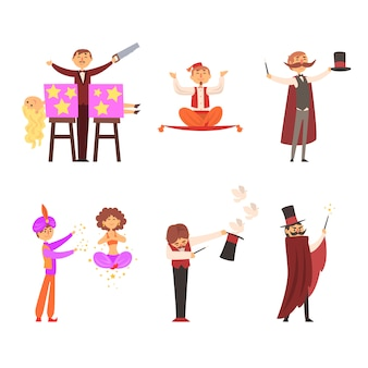 Il mago nel circo mostra trucchi magici trucchi magici illustrazione