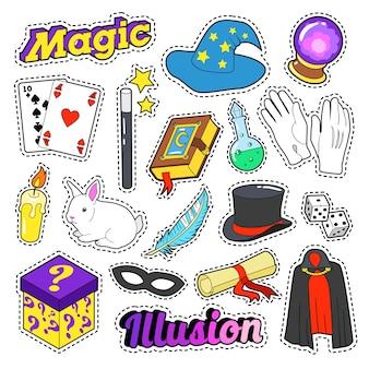 Set di elementi del mago con bacchetta magica, maschera e cilindro per adesivi, distintivi. doodle di vettore