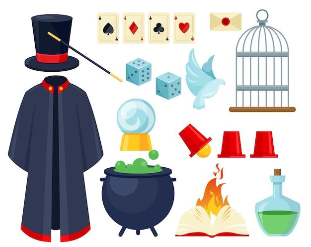 Set di illustrazioni di oggetti del mago cappello e bastone a cilindro del mantello illusionista