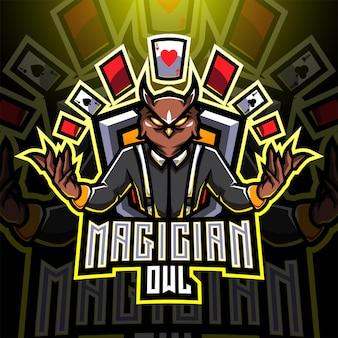 Gufo mago esport mascotte logo design