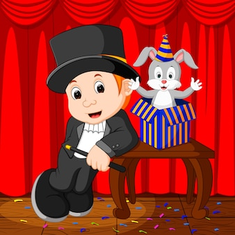 Un mago che si esibisce su un palcoscenico