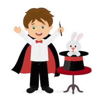 Il mago estrae un coniglio dal suo cappello a cilindro