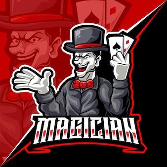 Il mago mostra il poker di carte, l'illustrazione vettoriale del logo di esports della mascotte