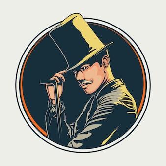 Mago con la bacchetta magica che indossa l'illustrazione nera dello smoking dell'annata