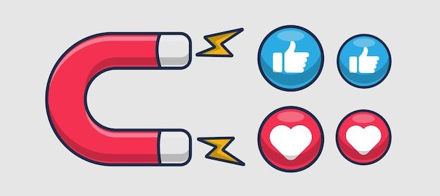 Magnete e illustrazione dell'icona di reazione dei social media