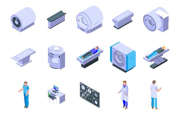 Set di icone di risonanza magnetica, stile isometrico