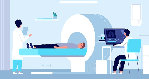 Risonanza magnetica. apparecchiatura mri, medico e paziente nella macchina per tomografia. radiologia ospedaliera, procedura di scansione