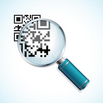 Lente d'ingrandimento e identificazione del codice qr nero isolato