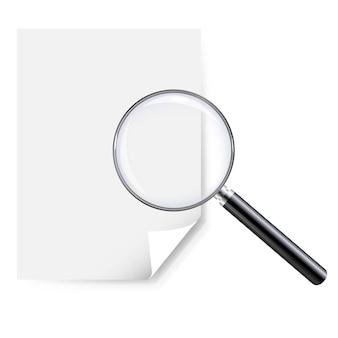 Lente di ingrandimento e carta per appunti in bianco isolato su sfondo bianco con maglia di gradiente