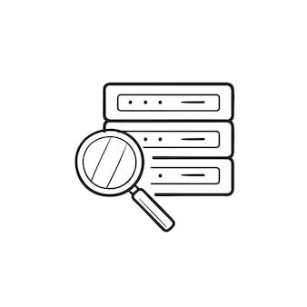 Lente di ingrandimento sull'icona di doodle di contorni disegnati a mano del server di database. analisi del database, concetto di database di ricerca