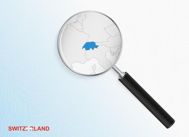 Lente d'ingrandimento con mappa della svizzera su sfondo topografico astratto.