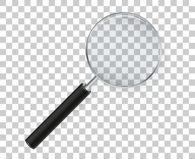 Lente di ingrandimento isolato su sfondo trasparente. lente d'ingrandimento vettoriale.