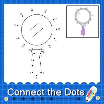 Lente d'ingrandimento i bambini collegano il foglio di lavoro dei punti per i bambini che contano i numeri da 1 a 20