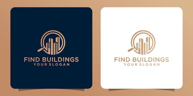 Design del logo con lente d'ingrandimento combinato con l'edificio.