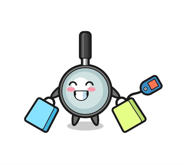 Cartone animato mascotte lente d'ingrandimento che tiene una borsa della spesa, design in stile carino per maglietta, adesivo, elemento logo