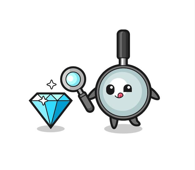 La mascotte della lente d'ingrandimento sta controllando l'autenticità di un diamante, un design in stile carino per maglietta, adesivo, elemento logo