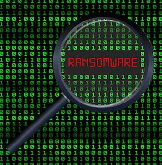 Lente di ingrandimento dati di scansione e trovato ransomware