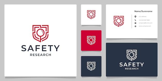 Progettazione del logo del contorno della tecnologia di sicurezza dello scudo di lente d'ingrandimento