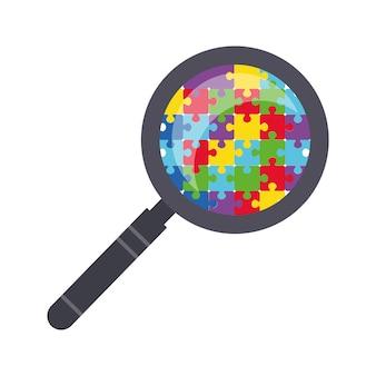 Una lente d'ingrandimento attraverso la quale puoi vedere i dettagli del puzzle simbolo dell'autismo world autism