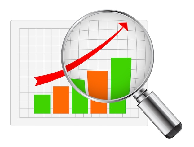 Lente d'ingrandimento con diagramma di affari