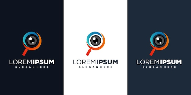 Lente d'ingrandimento con design del logo dell'obiettivo della fotocamera