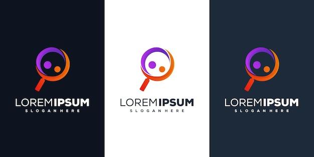 Lente d'ingrandimento con design del logo delle persone