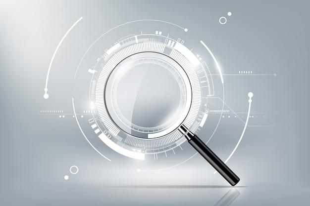 Lente d'ingrandimento con il concetto di ricerca di ricerca e il fondo futuristico di tecnologia elettronica, illustrazione trasparente