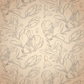 Modello botanico senza cuciture disegnato a mano del fiore della magnolia