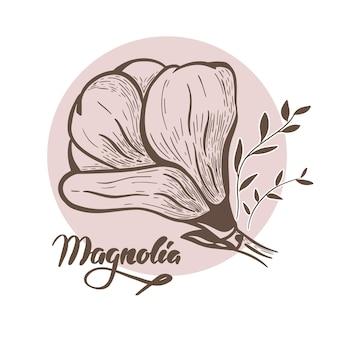 Fiore della magnolia icona floreale di vettore astratto moderno.