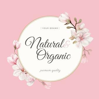 Cornice e bordo dell'acquerello del fiore di magnolia per il marchio, l'identità aziendale, l'imballaggio e il prodotto.