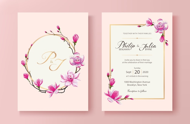 Scheda dell'invito di nozze fiore magnolia.