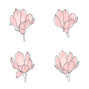 Magnolia isolata in stile contorno lineare