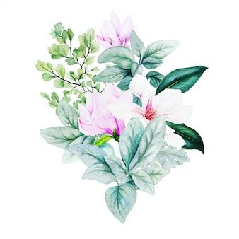 Magnolia e foglie, bouquet acquerello brillante con felce e orecchie di agnello