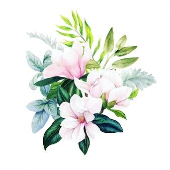 Magnolia e foglie, bouquet acquerello brillante con felce