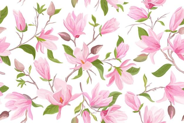 Reticolo senza giunte floreale dell'acquerello della magnolia. fiori di magnolia, foglie, petali, sfondo di fiori. carta da parati giapponese per matrimoni primaverili ed estivi, per tessuto, stampe, invito, sfondo, copertina