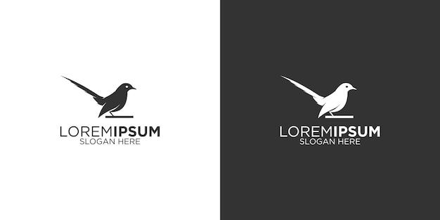 Disegno del logo della sagoma dell'uccello gazza