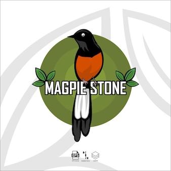 Illustrazione di uccello pietra gazza con uno sfondo bianco with