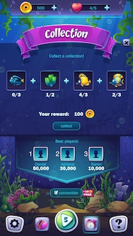 Schermata di raccolta formato mobile illustrazione del mondo dei pesci mahjong